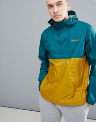 Marmot Precip Anorak Overhead Waterproof With Attached Hoood In Green Ocre Deep Teal Dirty Gold