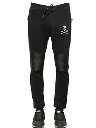 Philipp Plein Skull Leather And Cotton Jogging Pants Black