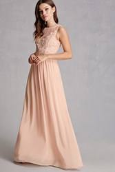 Forever 21 Soieblu Lace Panel Maxi Dress Champagne