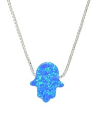 Lord And Taylor Blue Opal Sterling Silver Hamsa Hand Pendant Necklace