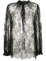 Alexander Mcqueen Sheer Lace Blouse Women Cotton Polyamide 42 Black