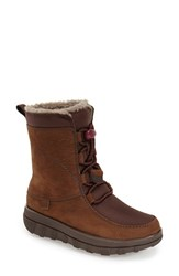 Women's Fitflop 'Sporty' Lace Up Mukluk With Genuine Shearling Lining Chocolate Brown Suede