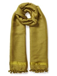 East Wool Silk Pompom Scarf Yellow