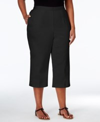 Alfred Dunner Plus Size Sao Paolo Collection Pull On Capri Pants Black