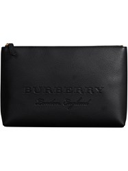 Burberry Large Embossed Leather Zip Pouch Black