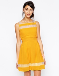 Wal G Skater Dress With Mesh Inserts Yellow