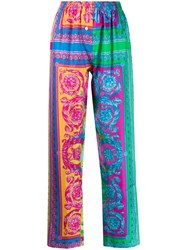 Versace Printed Detail Lounge Pants Blue