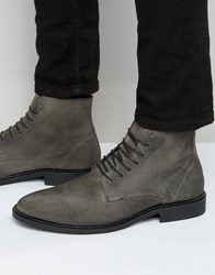 New Look Waxed Suede Boot In Grey Grey