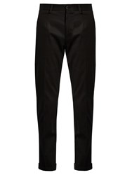 Dolce And Gabbana Slim Leg Cotton Blend Chino Trousers Black
