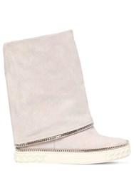 Casadei 80Mm Suede Wedge Sneakers W Chain Detail White
