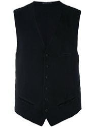 Hannes Roether Knitted Waistcoat Men Cotton Wool S Black