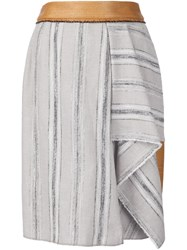 Sophie Theallet Striped Basketweave Skirt Nude And Neutrals