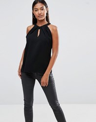 Vesper Sleeveless Keyhole Top With Twist Neck Black