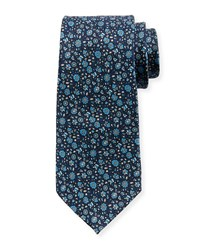 Neiman Marcus Small Flower Silk Tie Blue Pattern