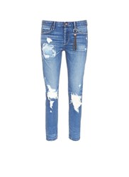 Tortoise 'Savanna' Distressed Ripped Knit Patch Cropped Jeans Blue