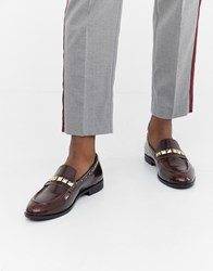House Of Hounds Rex Stud Loafers In Burgundy Red