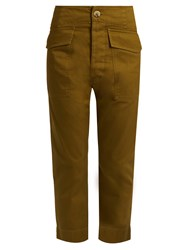 Etoile Isabel Marant Oaklyn Tapered Cotton Cropped Trousers Khaki