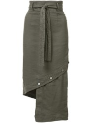 Robert Rodriguez Asymmetric Skirt Women Cotton Linen Flax Spandex Elastane 4 Green