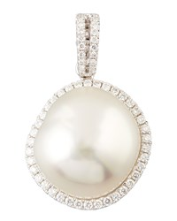 White South Sea Pearl And Diamond Halo Pendant 0.33 Tcw Eli Jewels Blue