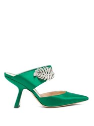 Nicholas Kirkwood Monstera Crystal Embellished Satin Mules Dark Green