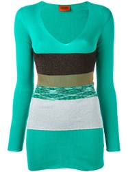 Missoni Plunge V Neck Band Top Women Cotton 40 Green