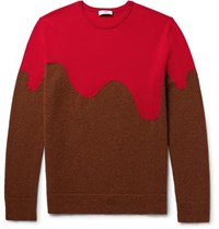 Cmmn Swdn Two Tone Merino Wool Blend Sweater Red
