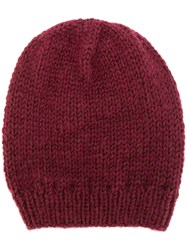 Lala Berlin Knitted Beanie Hat Polyamide Mohair Wool Red