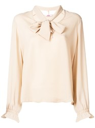 Blugirl Folies Neck Tied Long Sleeve Blouse Nude And Neutrals