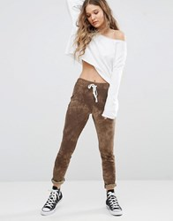Glamorous Skinny Sweat Pants In Tye Dye Khaki Green