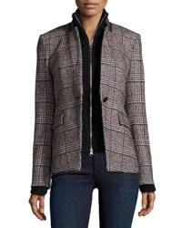 Veronica Beard Cutaway Stand Collar Jacket With Upstate Knit Dickey Multi