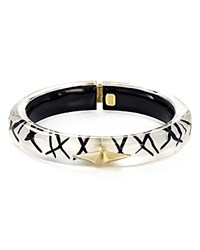 Alexis Bittar Thin Studded Lucite Hinge Bangle Silver Black Gold