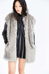 Members Only Cap Sleeve Faux Fur Vest Grey