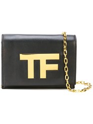 Tom Ford Black Leather Tf Gold Logo Chain Shoulderflap Bag