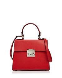 Aqua Top Handle Leather Satchel 100 Exclusive Red Silver