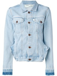 Off White Frill Detail Denim Jacket Women Cotton S Blue