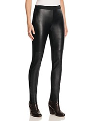 Eileen Fisher Seamed Leather Front Leggings Black