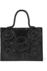 Sophie Anderson Caba Leather Trimmed Raffia Tote Black