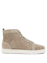 Christian Louboutin Louis Spike Embellished High Top Suede Trainers Grey