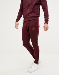 Gym King Taped Tracksuit Bottoms In Wine Red