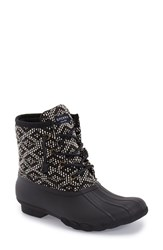 Women's Sperry 'Saltwater' Duck Boot Black White Tribal