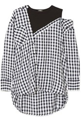 Maje Layered Gingham Crepe And Cotton Blend Jersey Blouse Black