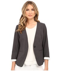 Kensie Heather Stretch Crepe Blazer Ks2k2164 Heather Dark Grey Women's Jacket Gray