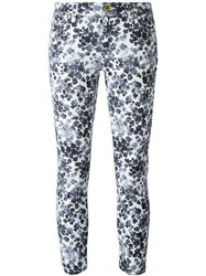 Michael Michael Kors Floral Print Cropped Skinny Jeans White