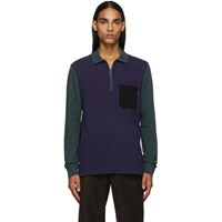 Paul Smith Ps By Blue And Green Long Sleeve Polo