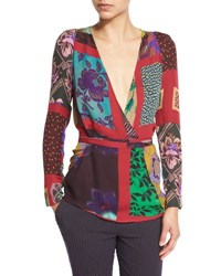 Etro Patchwork Wrap Silk Blouse Red
