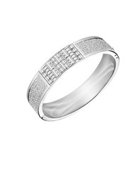 Swarovski Ethic Crystal And Stainless Steel Wide Bangle Bracelet Silver