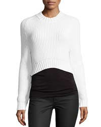 Michael Kors Airspun Shaker Cropped Sweater Optic White