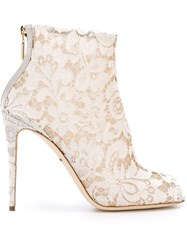 Dolce And Gabbana Floral Lace Booties White
