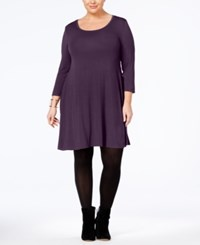 Style And Co Plus Size Swing Dress Created For Macy's Dark Grape