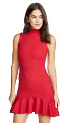 Susana Monaco Mock Neck Curved Ruffle Dress Red